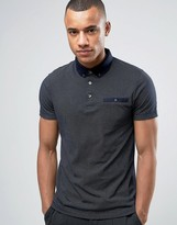 French Connection Polo Shirt with Button Down Collar and All Over Dot Print