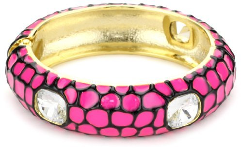 Adia Kibur Neon Pink Tiger Print Crystal Cuff Bracelet