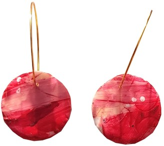 Emily Laura Designs Red, Pink & White Art Circle Earrings