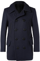 Tom Ford Leather-Trimmed Felted Wool-Blend Peacoat
