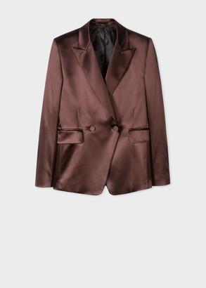 Women's Burgundy Satin Tuxedo Double-Breasted Blazer