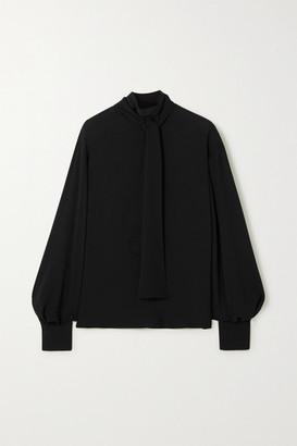 Valentino Tie-detailed Silk-crepe Blouse - Black