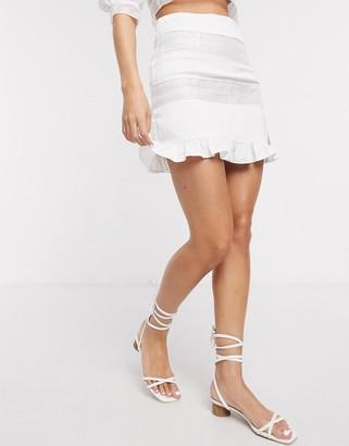 Skylar Rose mini skirt with stripe mesh two-piece in white