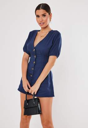 Missguided Navy Button Front Pleated Playsuit