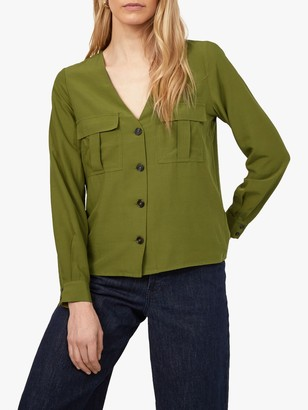 Warehouse Long Sleeve Button Front Top