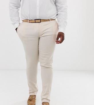 Asos DESIGN Plus wedding super skinny suit pants in stone linen
