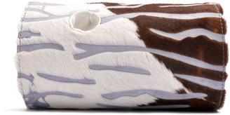 Barrel Art Couture Clutch In Avio Brown White