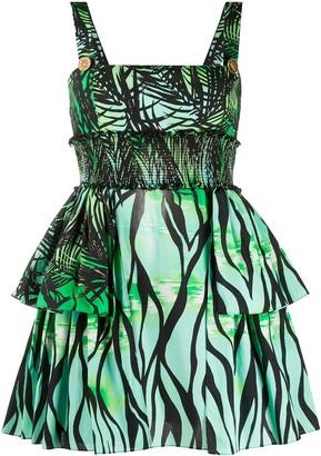 Fausto Puglisi layered foliage print mini dress
