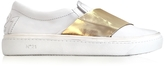 N°21 White & Gold Metallic Leather Slip-on Sneaker