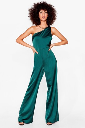 Nasty Gal Womens Taking Flare Of Business One Shoulder Jumpsuit - Green - 10