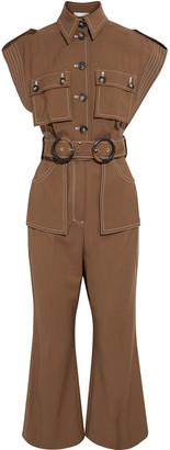 Zimmermann Zippy Safari Cropped Belted Wool Jumpsuit