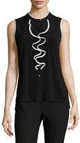 Calvin Klein Sleeveless Ruffle Front Shirt