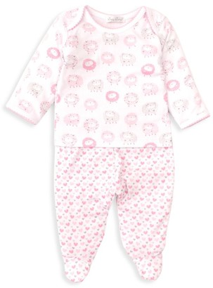 Kissy Kissy Baby Girl's 2-Piece Sheep & Heart Print Top & Footie Set
