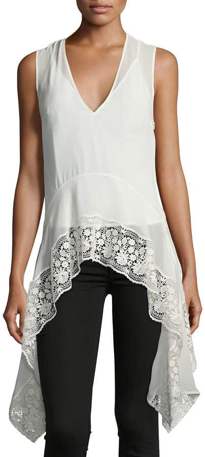 Altuzarra Lace-Trim V-Neck Handkerchief Top