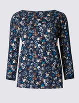 Marks and Spencer Pure Cotton Lace & Printed Jersey Top