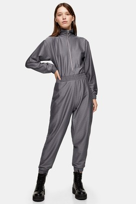 Topshop Womens Considered Charcoal Grey Recycled Polyester Jumpsuit - Charcoal