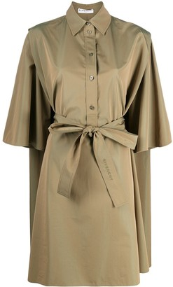 Givenchy Belted Cape Shirt Dress