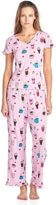 BedHead Pajamas BHPJ By Women's Soft Knit Ruffle Short Sleeve Capri Pajama Set - Lt. Pink Lattes and Shakes - X-Large