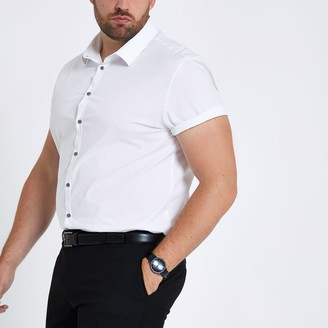 River Island Mens Big and Tall White poplin slim fit shirt