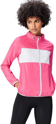 Active Wear Activewear Women's Track Jacket with Colour Block Panel with Hidden hood and Reflective Stripe Detail