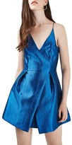 Topshop Women's Crinkled Satin V-Neck Dress