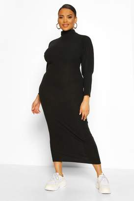 boohoo Plus Soft Rib Roll Neck Midaxi Dress