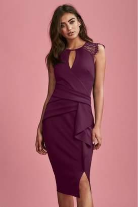 Lipsy Eyelash Lace Wrap Frill Dress - 6 - Red