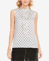 Vince Camuto Diamond-Print Ruffle-Front Blouse