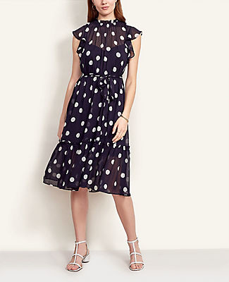 Ann Taylor Petite Summer Dot Ruffle Flare Dress