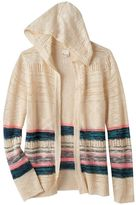 Mudd Girls 7-16 Striped Open-Work Hooded Cardigan