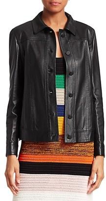 Akris Punto Ruffled Perforated Leather Jacket