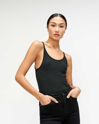 7 For All Mankind Baby Rib Racerback Tank in Jet Black