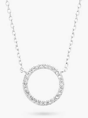 Estella Bartlett Pave Cubic Zirconia Circle Pendant Necklace, Silver