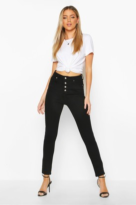 boohoo Exposed Button Front High Rise Skinny Jean