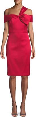 Badgley Mischka Asymmetric Bow-Shoulder Dress