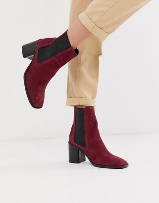 ASOS DESIGN Reverse suede square toe chelsea boots in purple