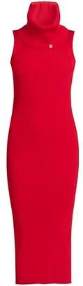Balmain Sleeveless Ribbed Turtleneck Knit Dress