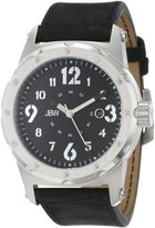 JBW Men's J6284A Stainless Steel Watch with Black Suede Leather Band