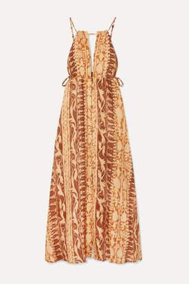 Cult Gaia Agatha Printed Linen Maxi Dress - Brown