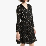 La Redoute Collections Short V-Neck Dress with Metallic Floral Print and Long Sleeves
