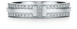 Tiffany & Co. & Co. T Two narrow ring in 18k white gold with pave diamonds - Size 4