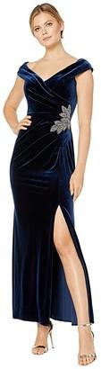 Alex Evenings Long Velvet Off-the-Shoulder Dress (Imperial) Women's Dress