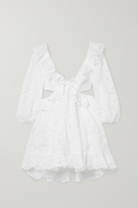Zimmermann Brighton Cutout Ruffled Broderie Anglaise Cotton Mini Dress - White