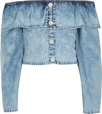 River Island Girls Blue frill long sleeve denim crop top