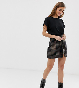 ASOS DESIGN Petite ponte mini skirt with zip front in brown check