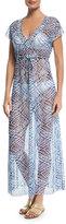 Letarte V-Neck Sheer Mesh Printed Maxi Dress