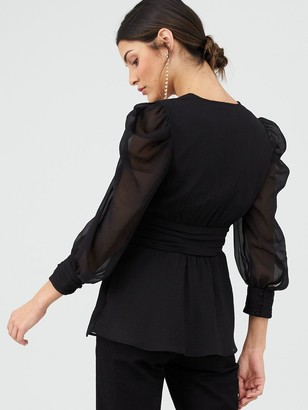 Very Ruched Waist Blouse - Black