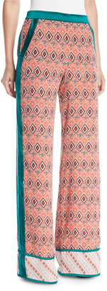 Talitha Collection Almasi-Print Wide-Leg Pull-On Trousers