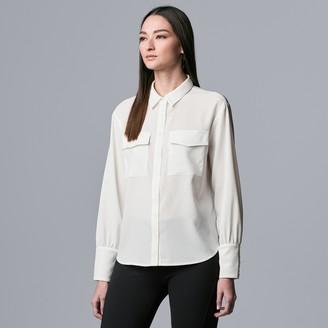 Women's Simply Vera Vera Wang Button Front Blouson Sleeve Blouse
