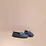 Burberry Check Detail Leather Loafers